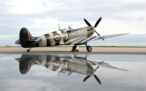 Picture water, plane, reflection, spirit of kent spitfire