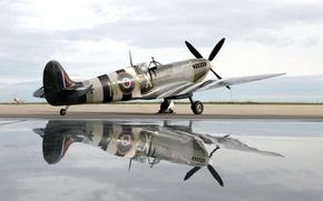 Wallpaper reflection, spirit of kent spitfire, plane, water