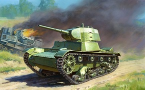 Picture easy, art, tank, WWII, Soviet, WW2, infantry, tank, based, created, T-26, English, htonic, Mk.E, A. ...