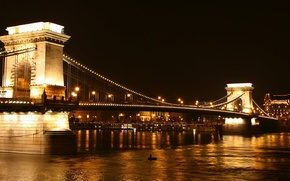 Picture night, lights, river, Hungary, Budapest, The Danube, Chain Bridge