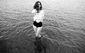 Picture girl, blouse, river, legs, woman, water, model, black and white, Hattie Watson, female, b/w