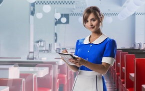 Picture look, girl, smile, sweetheart, actress, beauty, cafe, form, brown hair, the waitress, Doctor Who, cute, …