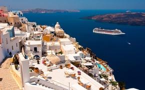 Picture Santorini, Greece, liner, Santorini, Oia, Greece, The Aegean sea