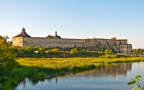 Picture trees, river, Ukraine, meadows, Southern Bug, Medzhybizh castle