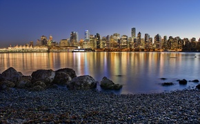 Picture the city, lights, river, home, the evening, morning, Vancouver