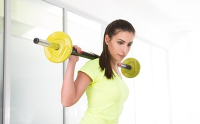 Picture fitness, look, workout, dumbbell, yellow