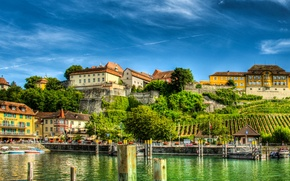 Wallpaper piers, home, Germany, shore, trees, lake, Meersburg, HDR, Lake Constance