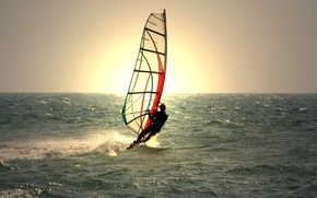 Picture sea, wave, water, the sun, background, widescreen, sport, waves, male, guy, sea, widescreen, water, background, ...