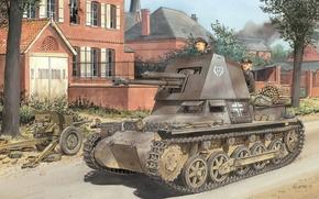 Picture road, the city, street, figure, art, The second world war, SAU, tankers, German, Panzerjäger I, …