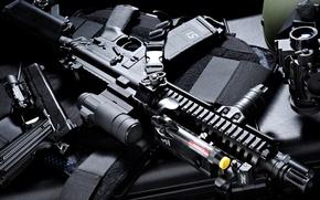 Wallpaper assault, armor, rifle, sight, machine, gun