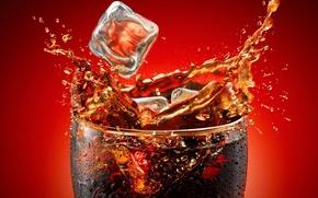 Picture squirt, glass, splash, drink, Coca-Cola, Cola