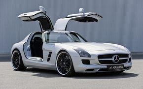 Wallpaper hamann, black, mercedes, benz, sls, white