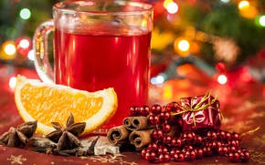 Picture orange, New Year, Christmas, Cup, beads, drink, cinnamon, holidays, star anise, Anis, mulled wine