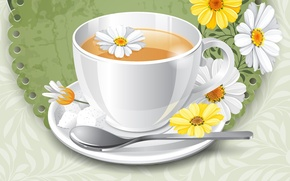 Picture flowers, background, tea, chamomile, Cup, saucer