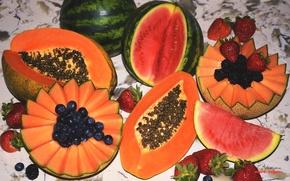 Picture berries, watermelon, strawberry, fruit, BlackBerry, melon, blueberries, papaya