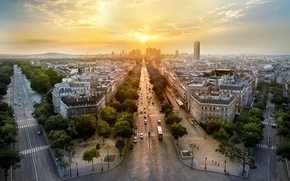 Picture trees, sunset, machine, the city, France, Paris, building, road, home, the evening, panorama, Paris, architecture, ...