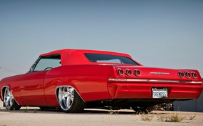 Picture machine, summer, the sky, the city, street, Chevrolet, red, 1965, Impala, Chevrolet