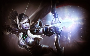Picture shot, magic, Traxex, DotA, armor, Defense of the Ancients, elf, bow