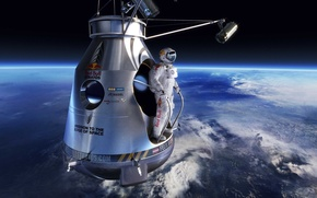 Picture widescreen, space, sport, Earth, flight, man, jumping, red bull, horizon, atmosphere, pearls, Felix Baumgartner, red ...