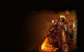 Wallpaper flame, sword, claws, Warhammer, 40k, the Golden armor, Emperor of Mankind, The Emperor Of Mankind