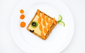 Picture creative, food, Breakfast, cheese, cucumber, plate, bread, olives, carrots