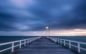 Picture the storm, the sky, light, clouds, bridge, the ocean, Australia, lights, wooden