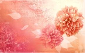 Picture flower, leaves, minimalism, vector, petals, Bud