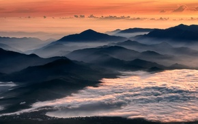 Picture mountains, fog, dawn, Japan, lake Yamanaka