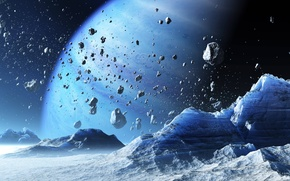 Picture space, rock, blue, planet