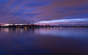 Picture the sky, clouds, trees, sunset, lights, river, shore, the evening, USA, USA, twilight, river, purple, ...