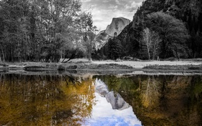 Picture the sky, trees, sunset, mountains, reflection, river, rocks, USA, Yosemite National Park, Sierra Nevada