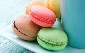 Picture cookies, cream, dessert, cakes, almonds, macaron, macaroon