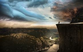 Wallpaper the sky, landscape, mountains, clouds, rock, river, open, people, Norway, Preikestolen, photo by Robin Kamp