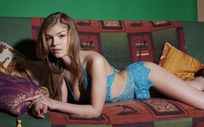Picture look, sofa, model, Blonde, Inga C