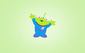 Picture green, toy, minimalism, alien, light background, Alien, Toy story, joyful, Toy Story