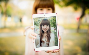 Picture smile, portrait, tablet, Oriental girl