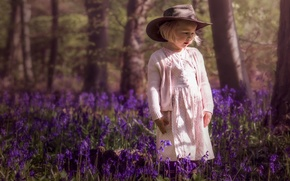 Picture forest, spring, girl