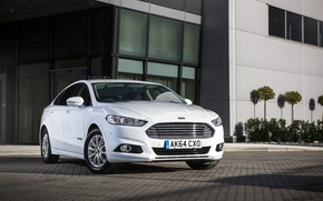 Wallpaper photo, Ford, White, Tuning, Car, Hybrid, Front, Mondeo, 2015