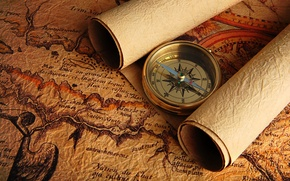 Picture map, arrow, compass
