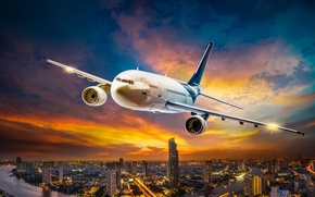 Picture the sky, clouds, flight, lights, the plane, engine, height, blur, night city, megapolis, airplane, bokeh, ...