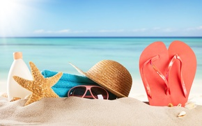 Picture sand, sea, beach, summer, the sun, stay, towel, hat, glasses, shell, summer, beach, vacation, sea, ...