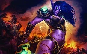 Wallpaper battle, elf, World of Warcraft