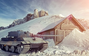 Picture winter, snow, Germany, art, tank, tanks, WoT, World of Tanks, E50-M, Wargaming.Net
