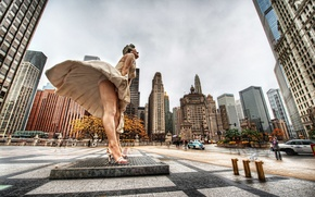 Picture skyscrapers, Chicago, USA, Chicago, megapolis, Marilyn Monroe, illinois, Marilyn Monroe