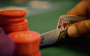 Picture card, hand, chips, ACE, poker, king, poker