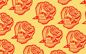 Picture flowers, rose, roses, fabric, flowers, roses