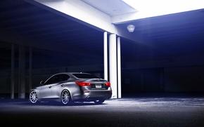 Picture Infiniti, silver, vossen wheels, rearside, Q50S