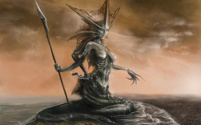 Picture sea, art, tail, spear, naga, siren, siren