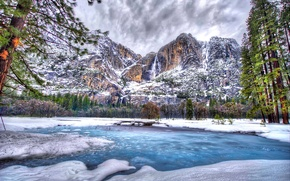 Picture winter, snow, trees, mountains, lake, HDR, USA, Yosemite National Park