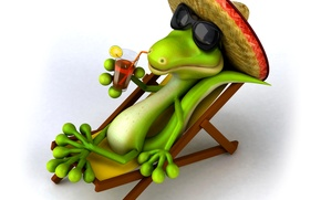 Picture stay, relax, hat, crocodile, glasses, chaise, cocktail, resort, sombrero